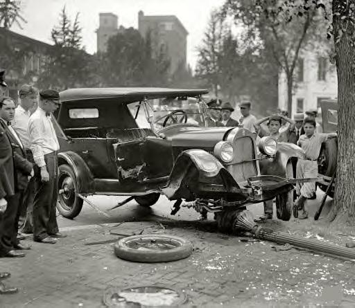 Washington, D.C., 1926. Auto accident. He never saw the lamp post coming.