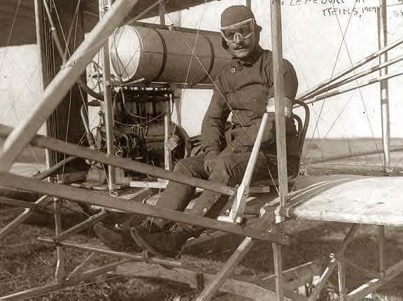 Eugene Lefebvre in plane at Reims, France. 9-1-1909