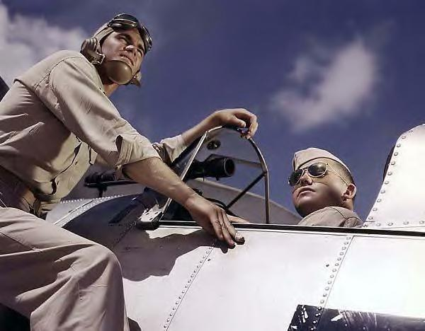 Pilots Ensign Noressey & Cadet Thenics, Corpus Christi, Texas., WWII 1942