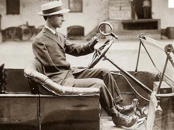 Judge Quentin D.Corley with no arms driving car, circa 1919
