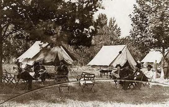 1864: General Ulysses S. Grant with others by tents. City Point, Va.