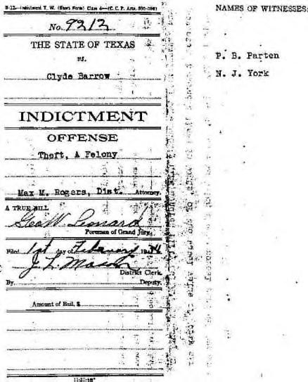 Clyde Barrow Indictment-1