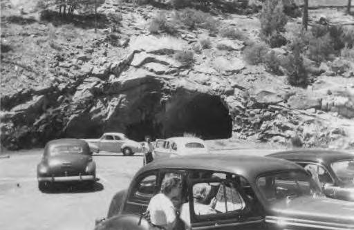 Car tunnel at Yosemite. c1946