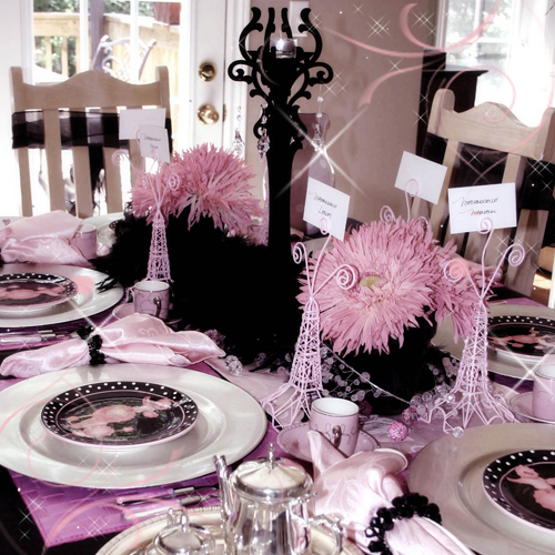 Paris Themed Birthday Party Pink black white birthday