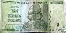10 triliun dollar Zimbabwe