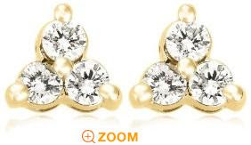 14k Rose, Yellow, or White Gold 3-Stone Diamond Stud Earrings (.24 cttw, J Color, I2 Clarity) :  woman designer rings jewelry