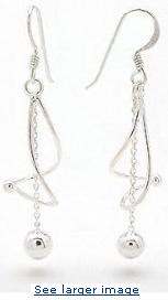  Twisted Spiral with Chain and Ball Drop Dangle Sterling Silver Hook Earrings