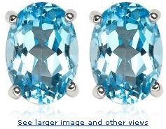 14k White Gold 7 x 5 Oval Shape Coated Swiss Blue Topaz Stud Earrings :  woman designer rings jewelry