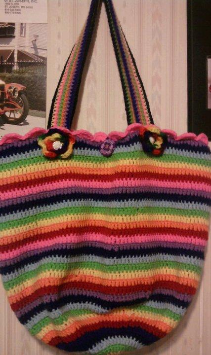 Cheryls Items of Interest: Crocheted Rainbow Bag