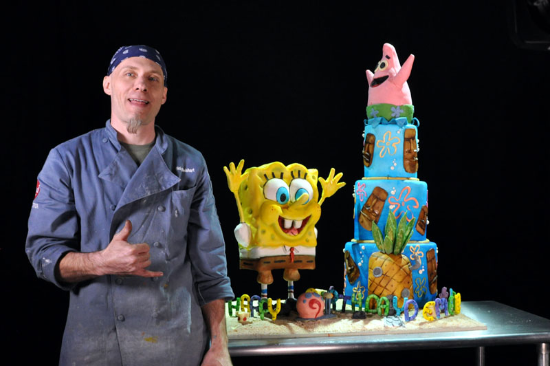 Cake of patrick star her cake represented patrick and spongebob