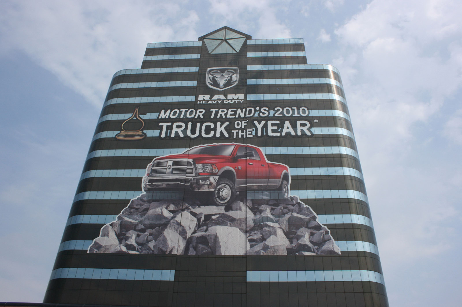 chrysler wraps headquarters to celebrate truck of the. Cars Review. Best American Auto & Cars Review