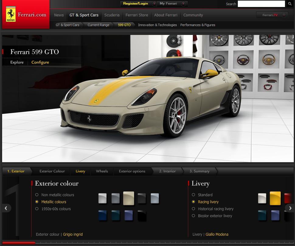 THE CAR: New Ferrari 599 GTO Configurator Released