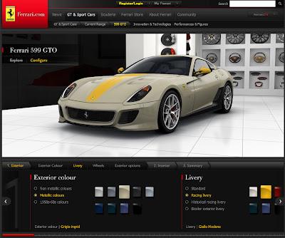 fERRARI cONFIGURATOR 22 New Ferrari 599 GTO Configurator released