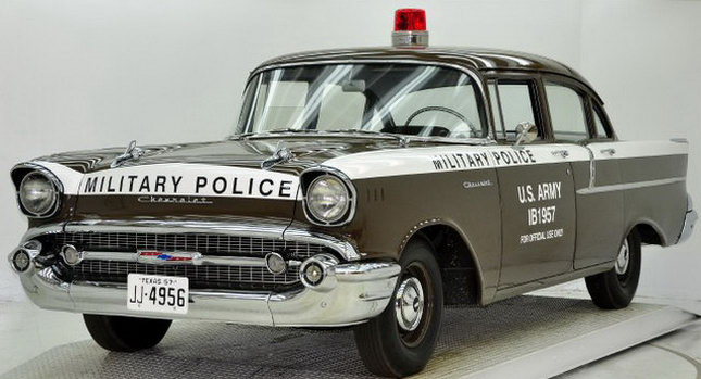 1957 Chevrolet Police Car 0001 Copped out: 1957 Chevy Military Police Car for Sale