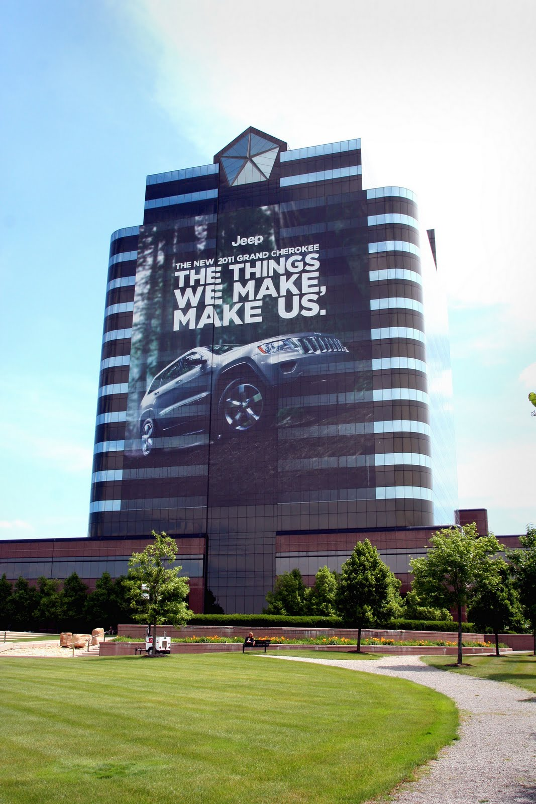 chrysler wraps headquarters in honor of 2011 jeep grand. Cars Review. Best American Auto & Cars Review