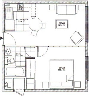 Planos de casas y departamentos proyectos de for Distribucion apartamento 50 m2