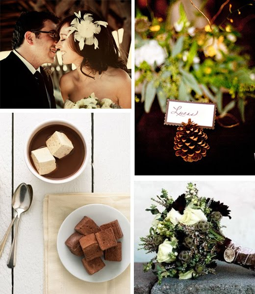 The key to a rustic winter wedding is to create a cozy natural atmosphere