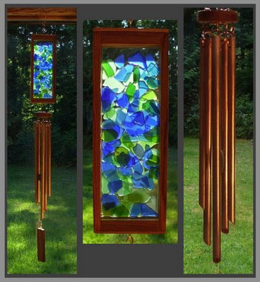 wind chime, beach glass inspired, stained glass, copper