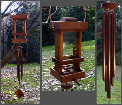 bird feeder, wind chime, copper, cedar, deluxe, handcrafted
