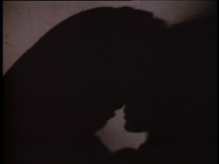 Shadow silhouettes of Vincent and Catherine about to kiss
