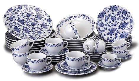 Aparelho de jantar azul