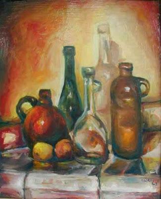 Original still life with bottles oil painting Michal Splho