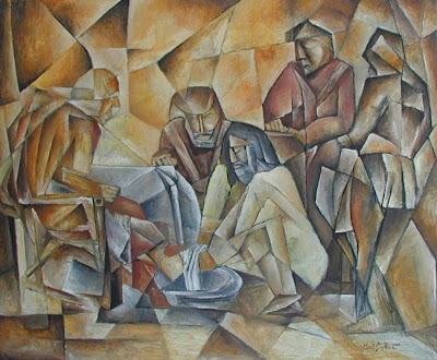 Michal Splho Rembrandt Jesus washing feet cubism oilpainting