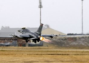 An F-16 taking off from Langley Air Force Base