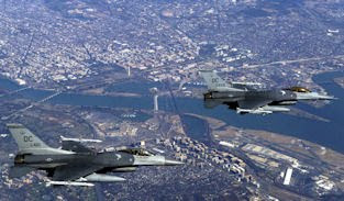 Two DC Air National Guard F-16C Fighting Falcon aircraft over Washington, DC
