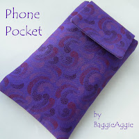 Purple fabric phone case with flap and velcro fastening, handmade in Wales UK.