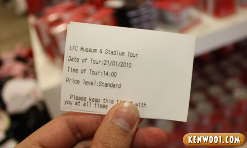 anfield tour ticket