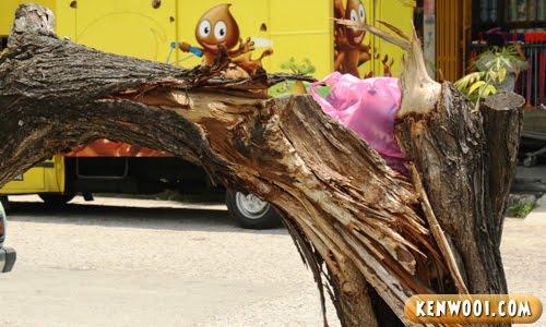 rubbish at tree