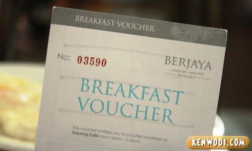 berjaya langkawi breakfast voucher