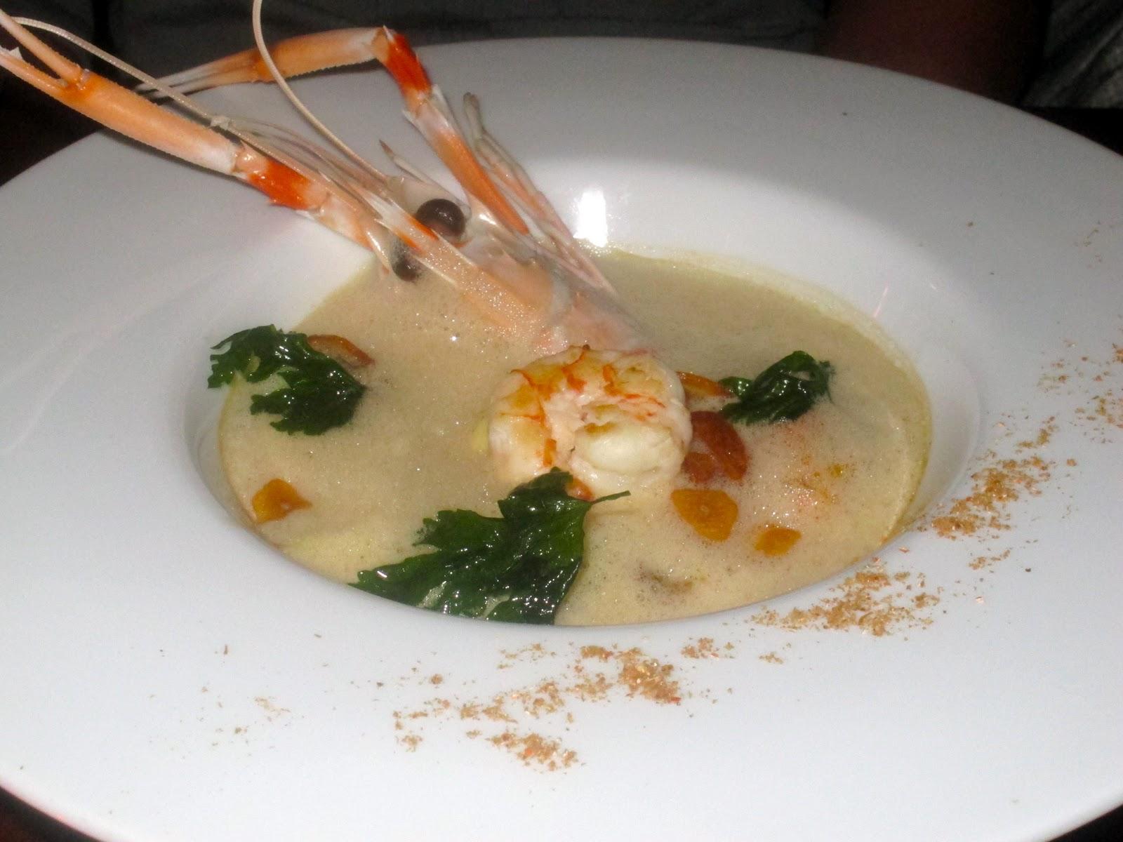 ... seared prawns and scampi, shellfish 'a la mariniere' and garlic r...