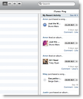 iTunes 10 With Ping Sidebar