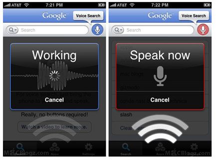 Google Voice Search updated with voice recognition