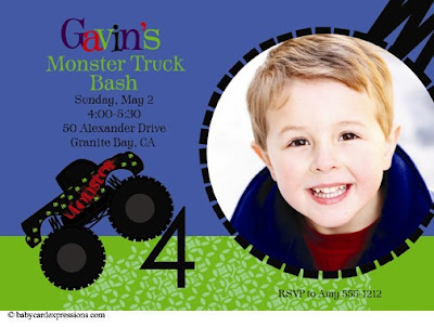 monster truck photo birthday invitation for boy
