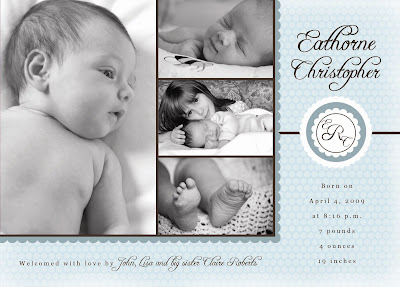 blue monogram photo birth announcement