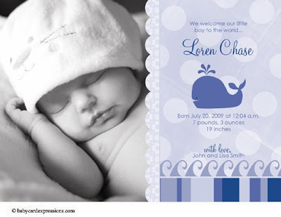 whale photo baby birth announcement, nautical