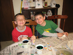Jackson and Ben coloring eggs