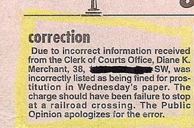 Hilarious Newspaper Retractions