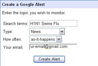 swine Flu email alert