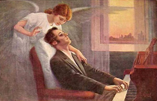 Dying Chopin with an Angel, Vintage Postcard from Maja Trochimczyk's Collection