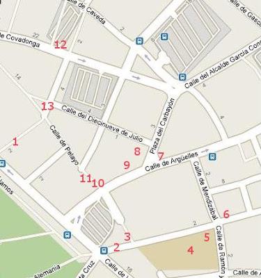 Oviedo, plano situación esculturas en el centro