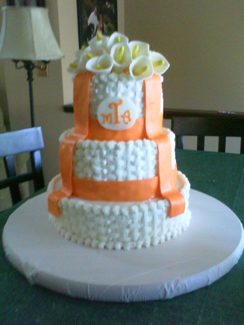 Calla Lily Wedding Cake Buttercream cake done in basketweave pattern with