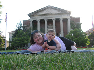 Chase and Mrs. Poop in front of Hendricks Chapel