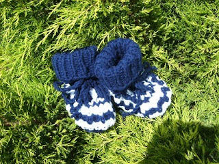 Hand Knit Child Slippers Socks in the Colors of Indianapolis Colts Manning