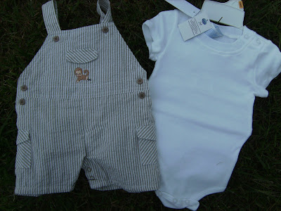 NWT 2 Piece Beige Striped Boy Baby Infant Outfit or Set 3 6 Months