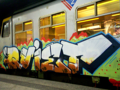 Quiet train graffiti artist