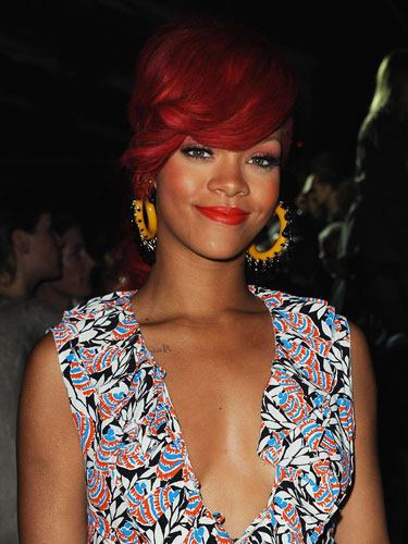 rihanna hair color. rihanna red hair color.